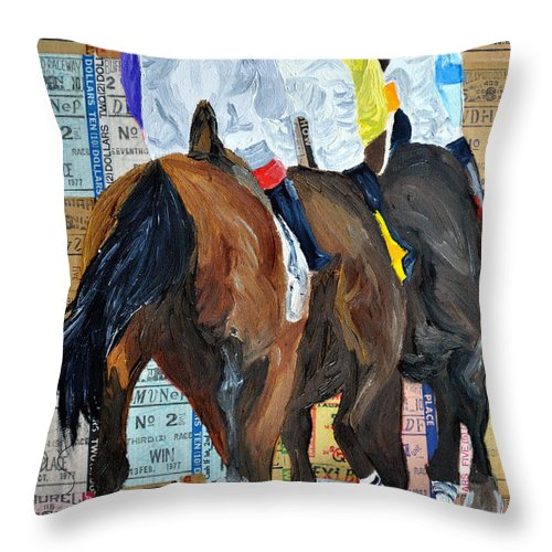 Horse Racing Throw Pillow featuring the painting Coming From Behind by Michael Lee