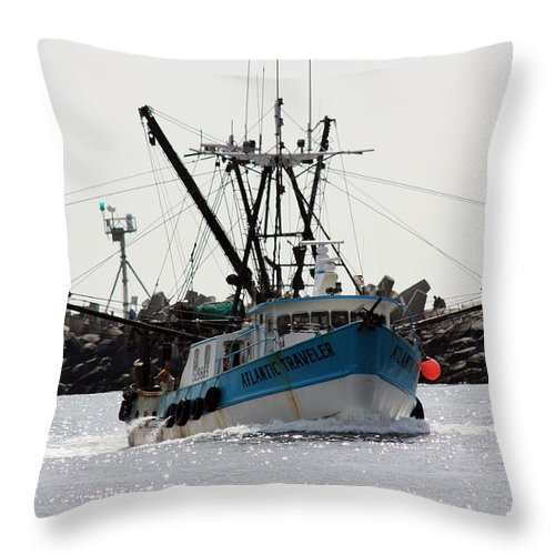 Fishing Trawler Throw Pillow featuring the photograph Coming Home by Mary Haber