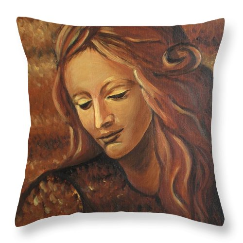 Acrylic Throw Pillow featuring the painting Coming Of Age II by Tatjana Popovska