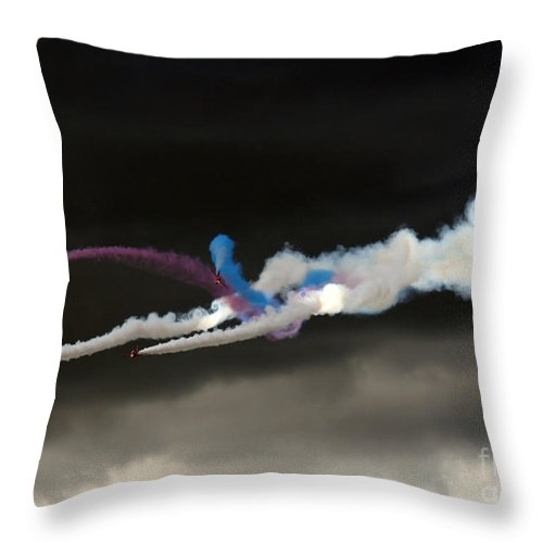 Red Arrows Throw Pillow featuring the photograph Coming Out From The Darkness by Angel Ciesniarska