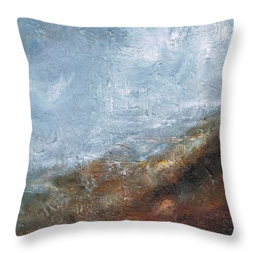 Abstract Throw Pillow featuring the painting Coming Out Of A Fog by Frances Marino