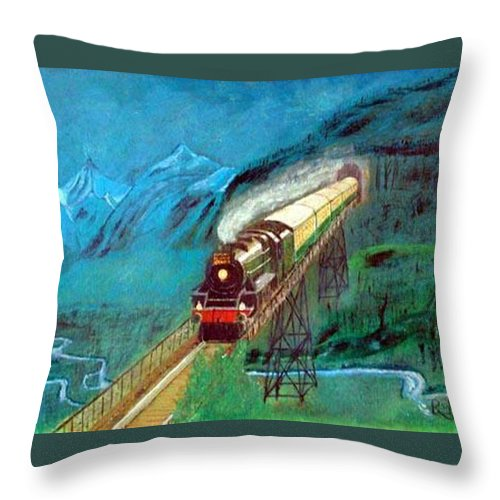 Trains Throw Pillow featuring the painting Coming Through The Tunnel by Richard Le Page