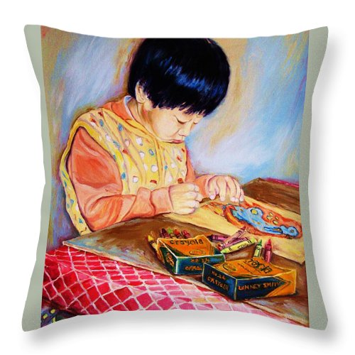 Beautiful Child Throw Pillow featuring the painting Commission Portraits Your Child by Carole Spandau