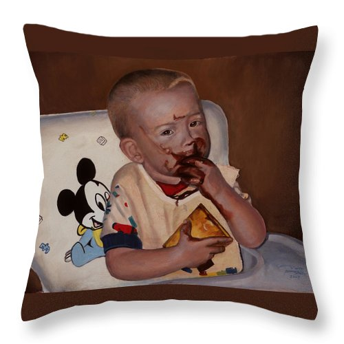 Commission Throw Pillow featuring the painting Commissioned Portrait by Timothy Tron
