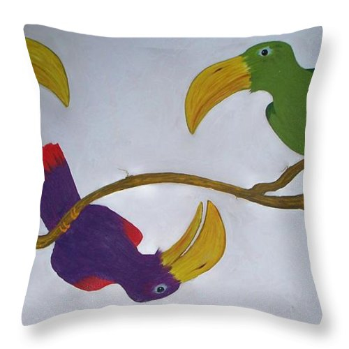 Birds Throw Pillow featuring the painting Community Stick by Patrick Trotter