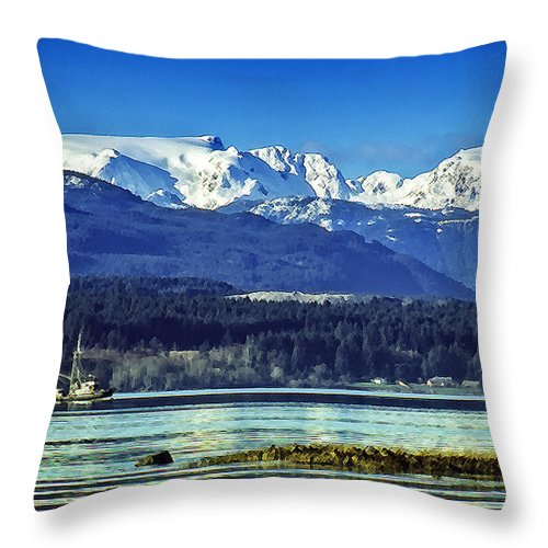 Comox Glacier Throw Pillow featuring the digital art Comox Glacier And Herring Boat by Richard Farrington