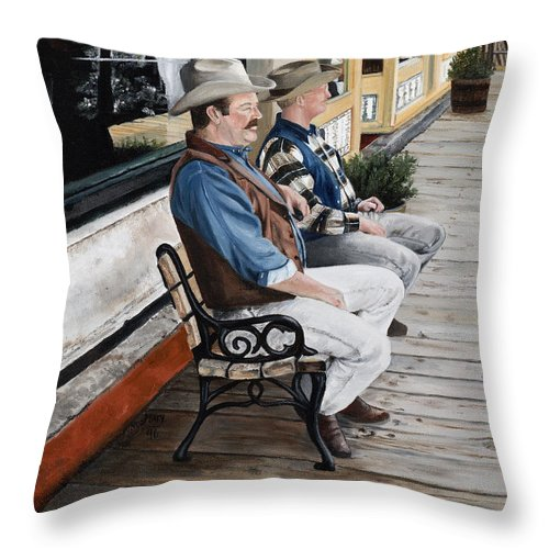 Friends Throw Pillow featuring the painting Compadres by Mary Rogers