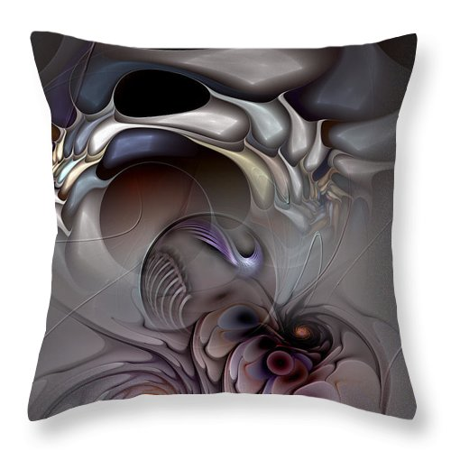 Abstract Throw Pillow featuring the digital art Compartmentalized Delusion by Casey Kotas