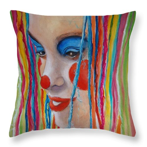 Clowns Throw Pillow featuring the painting Complementary by Myra Evans