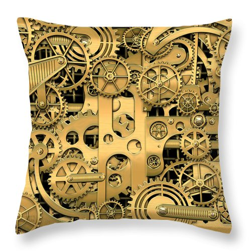 �visual Art Pop� By Serge Averbukh Throw Pillow featuring the photograph Complexity and Complications - Clockwork Gold by Serge Averbukh