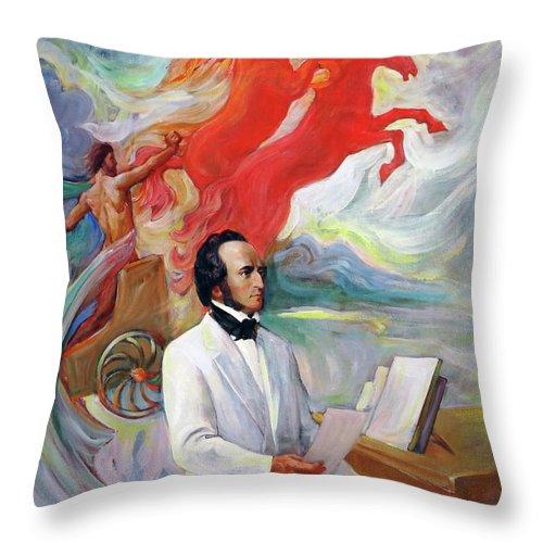 Mendelssohn Throw Pillow featuring the painting Composer Felix Mendelssohn by Svitozar Nenyuk