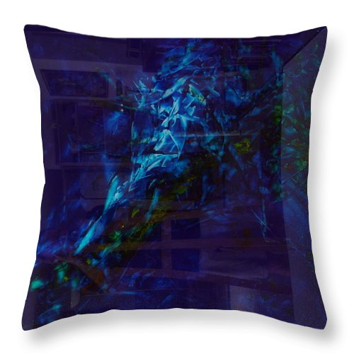 Abstractpaintings Throw Pillow featuring the painting Composition In Blue 2 by Albert Kutzelnig