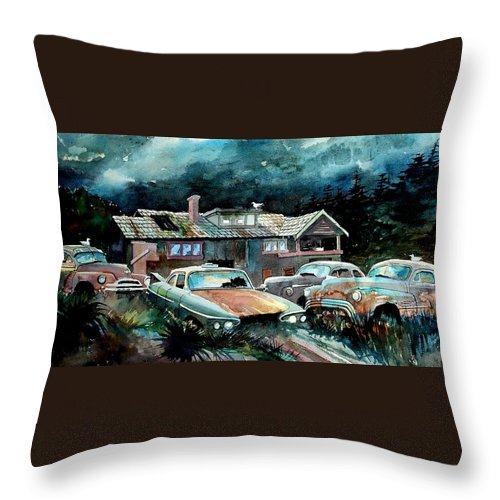 House Throw Pillow featuring the painting Compound In Cumberland Gap by Ron Morrison