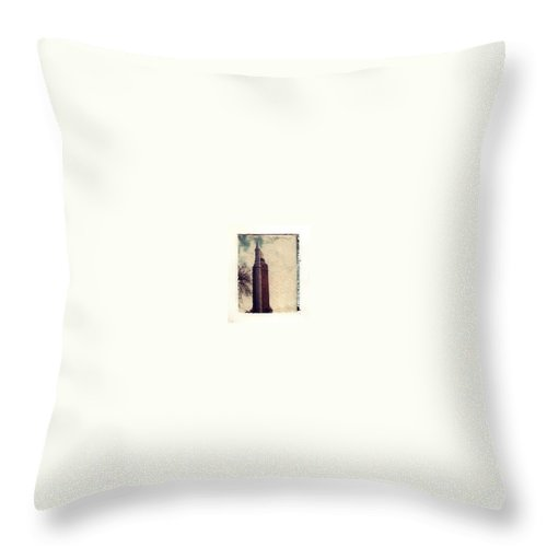 Polaroid Transfer Throw Pillow featuring the photograph Compton Water Tower by Jane Linders