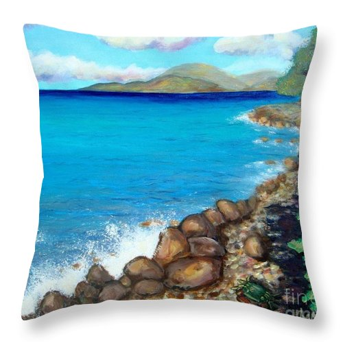 Water Throw Pillow featuring the painting Concealed Crustacean by Laurie Morgan