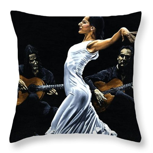 Flamenco Throw Pillow featuring the painting Concentracion Del Funcionamiento Del Flamenco by Richard Young