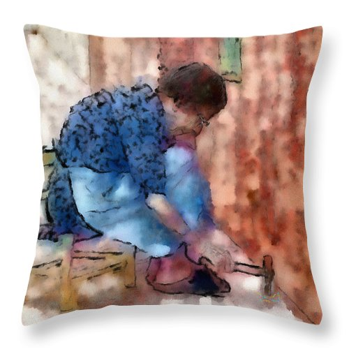 Ebsq Throw Pillow featuring the photograph Concentration by Dee Flouton