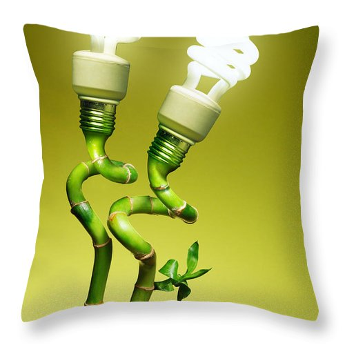 Alternative Throw Pillow featuring the photograph Conceptual Lamps by Carlos Caetano