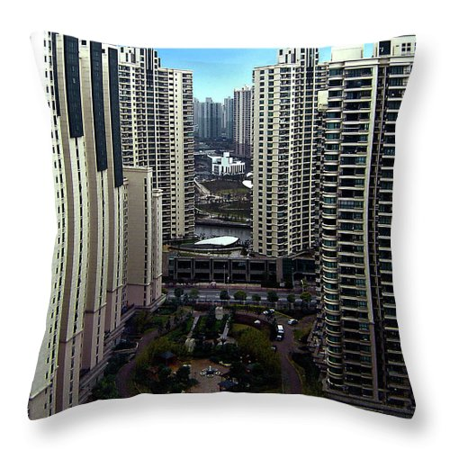 China Throw Pillow featuring the photograph Concrete Canyon by Murray Bloom