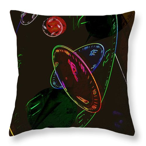 Clocks Throw Pillow featuring the digital art Concurrent Clocks by Helmut Rottler