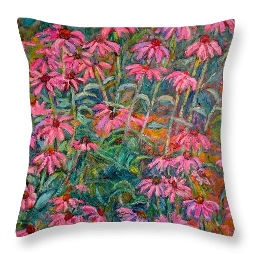 Kendall Kessler Throw Pillow featuring the painting Coneflowers by Kendall Kessler