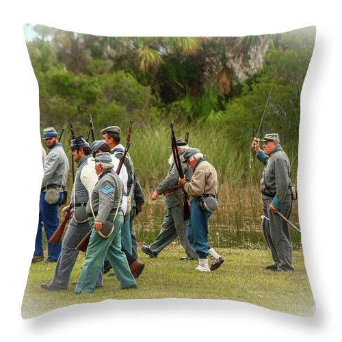 Confederate Throw Pillow featuring the photograph Confederate Advance by Tom Claud