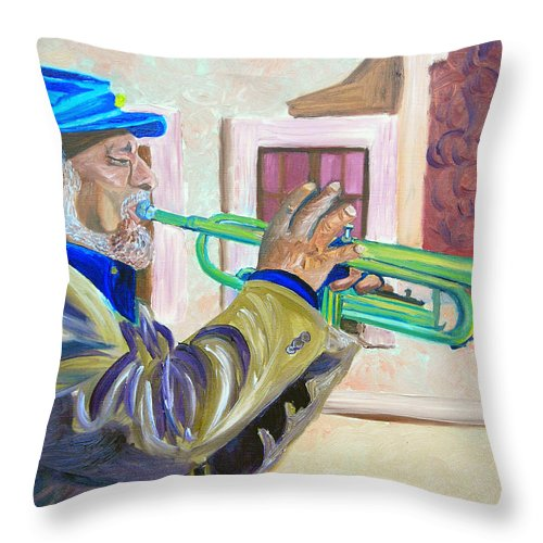 Street Musician Throw Pillow featuring the painting Confederate Bugular by Michael Lee