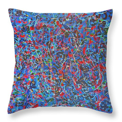 Abstract Throw Pillow featuring the painting Confetti by Ericka Herazo