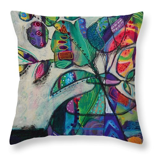 Floral Throw Pillow featuring the mixed media Confident Blooms.MaryMConner by Mary Conner