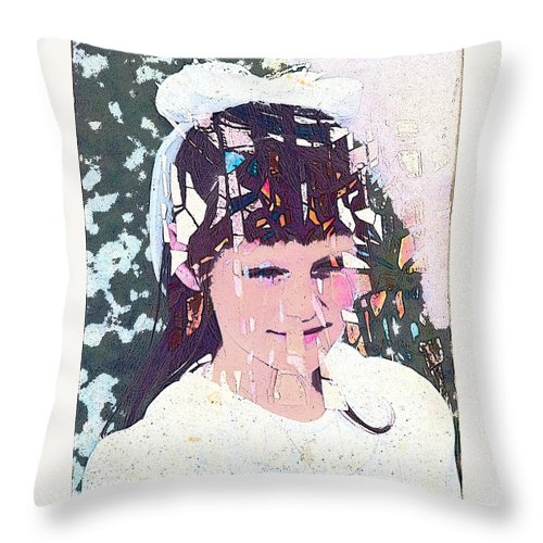 Girl Throw Pillow featuring the digital art Confirmation by Arline Wagner