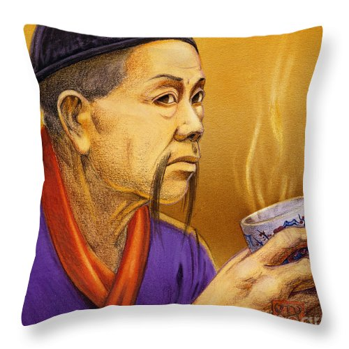 Oriental Throw Pillow featuring the painting Confucian Sage by Melissa A Benson