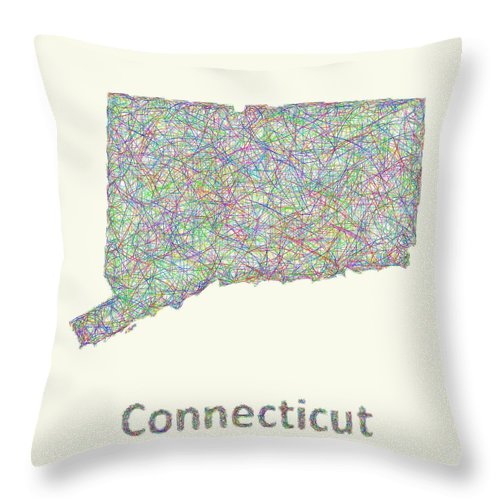 Connecticut Map Throw Pillow featuring the digital art Connecticut Line Art Map by David Zydd