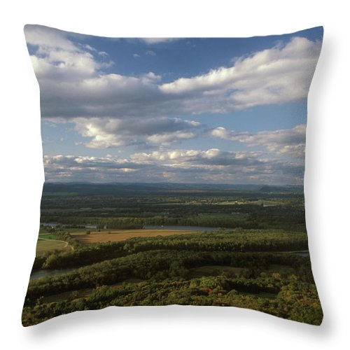 Connecticut River Throw Pillow featuring the photograph Connecticut River Mount Holyoke by John Burk