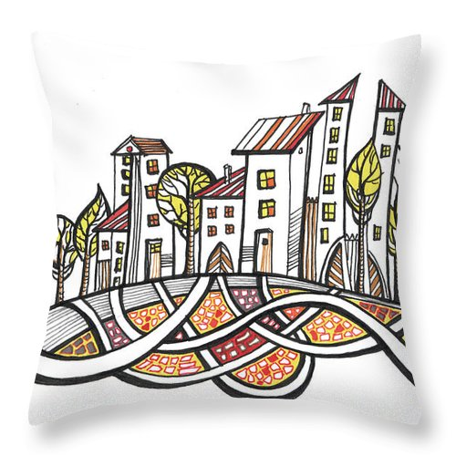 Houses Throw Pillow featuring the drawing Connections by Aniko Hencz