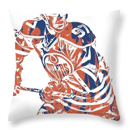 Connor Mcdavid Edmonton Oilers Pixel Art 3 Throw Pillow for Sale