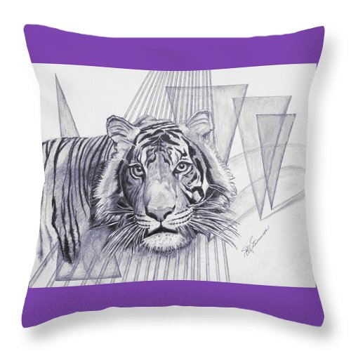 Tiger Throw Pillow featuring the drawing Conquest by Elly Potamianos