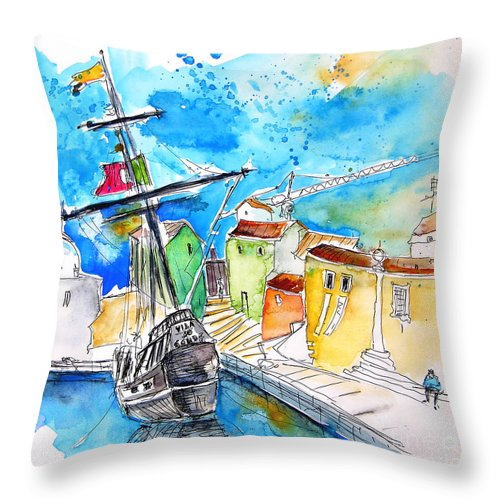 Portugal Throw Pillow featuring the painting Conquistador Boat In Portugal by Miki De Goodaboom