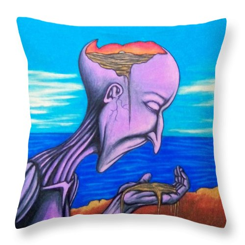 Michael Throw Pillow featuring the drawing Conscious Thought by Michael TMAD Finney