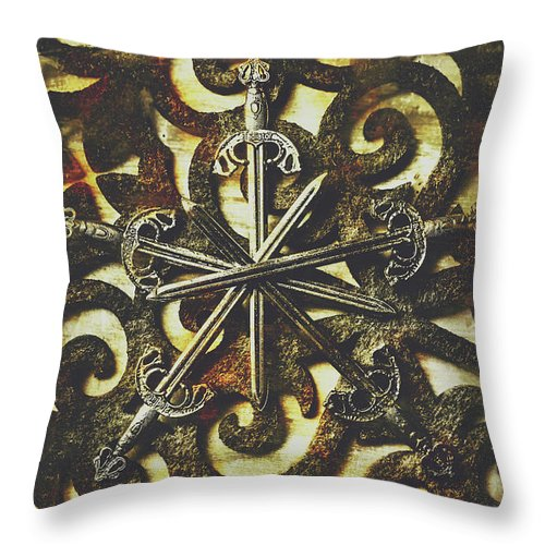 Medieval Throw Pillow featuring the photograph Conspirators Of The Crown by Jorgo Photography - Wall Art Gallery