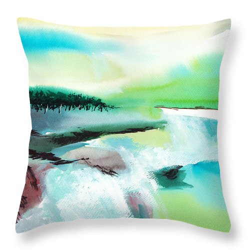 Nature Throw Pillow featuring the painting Constructing Reality 1 by Anil Nene