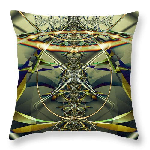 Fractal Throw Pillow featuring the digital art Construction Rings by Frederic Durville