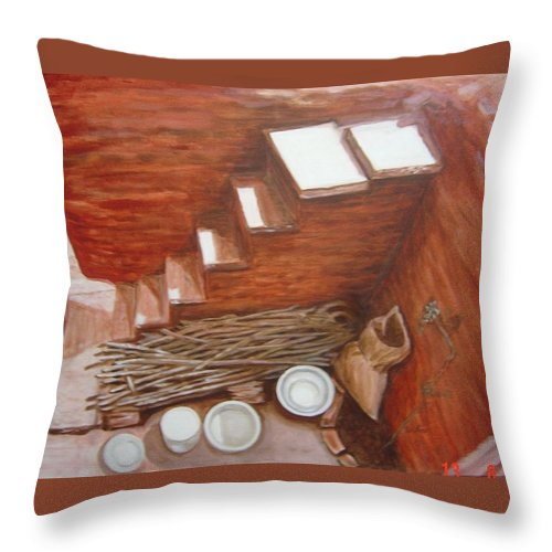 Construction Throw Pillow featuring the painting Construction Site 2 by Usha Shantharam