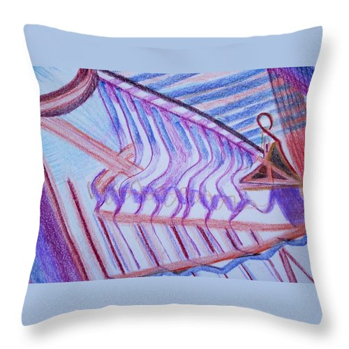 Abstract Throw Pillow featuring the painting Construction by Suzanne Udell Levinger