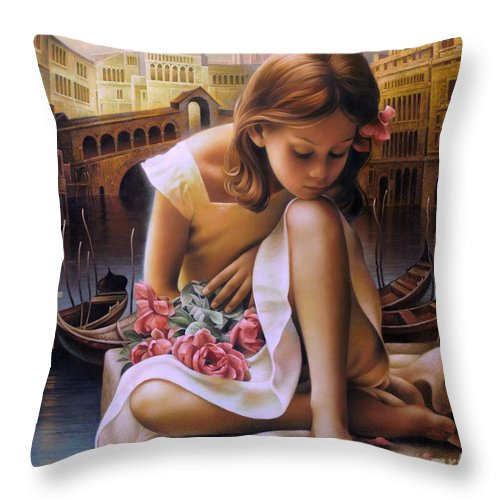 Portrait Throw Pillow featuring the painting Consuelo by Arthur Braginsky
