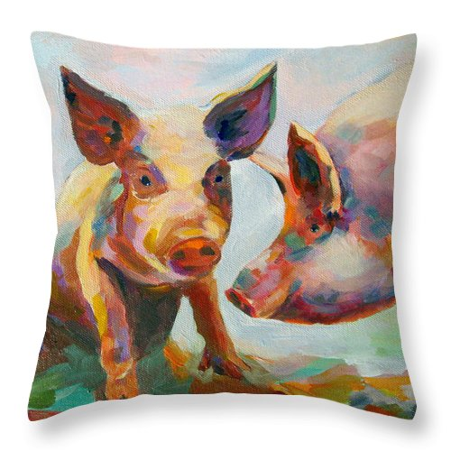 Pigs Throw Pillow featuring the painting Consultation by Naomi Gerrard