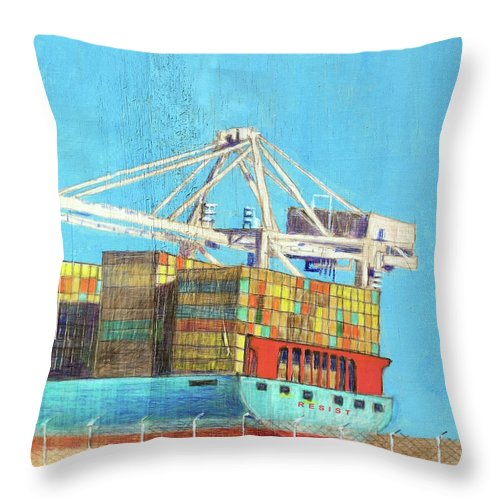 Shipping Container Throw Pillow featuring the mixed media Container Jockey by Bill Jeng
