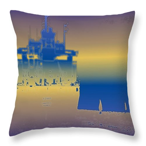 Puget Sound Throw Pillow featuring the photograph Container Sail 3 by Tim Allen
