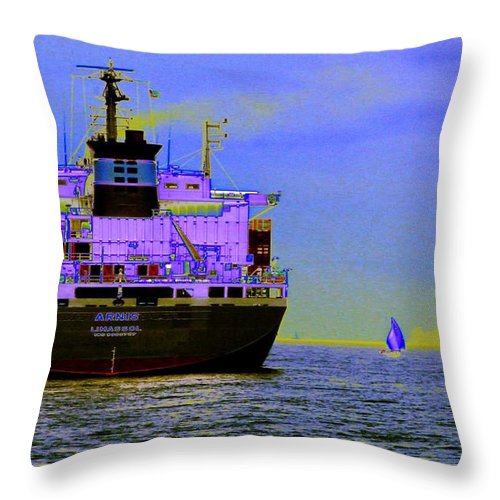 Seattle Throw Pillow featuring the photograph Container Sail by Tim Allen