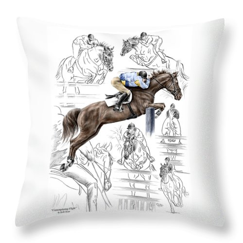 Jumping Throw Pillow featuring the drawing Contemplating Flight - Horse Jumper Print Color Tinted by Kelli Swan