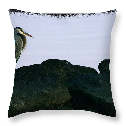 Clay Throw Pillow featuring the photograph Contemplating Heron by Clayton Bruster